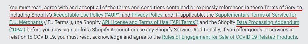 Shopify Terms of Service: You must read, agree and accept terms and agreements section with agreement links highlighted