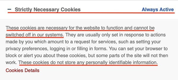 T Nation cookie consent notice: Strictly necessary cookies section
