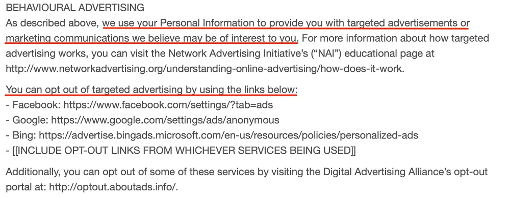Warmly Decor Privacy Policy: Behavioural Advertising clause
