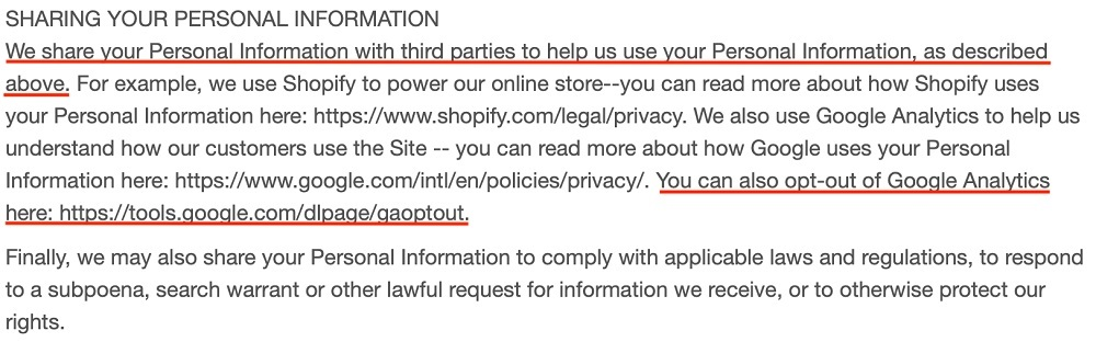 Warmly Decor Privacy Policy: Sharing Your Personal Information clause